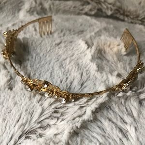 David's Bridal Gold Rhinestone Tiara